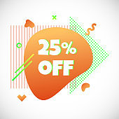 Modern liquid abstract special offer price sign 25% off DISCOUNT text gradient flat style design fluid vector colorful vector illustration banner simple shape advertising big sale or clearance symbol