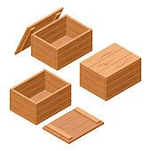 A set of wooden boxes with lids isolated on white background. Vector cartoon close-up illustration. Isometric style.