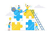 Teamwork concept with tiny people characters working together with big jigsaw puzzle pieces. Teamwork and time management concept flat style design vector illustration isolated on white background.