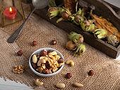 heahty nuts on a autumn decor