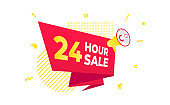 24 hour sale countdown ribbon badge icon sign with big red ribbon, megaphone and abstract elements behind isolated on white background.