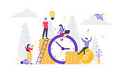 Tiny people characters working together with clock, character people and money symbol. Teamwork and time management concept flat style design vector illustration isolated white background.