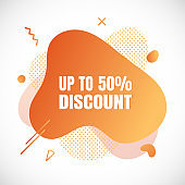 Modern liquid abstract special offer price sign 50% off DISCOUNT text gradient flat style design fluid vector colorful vector illustration banner simple shape advertising big sale or clearance symbol