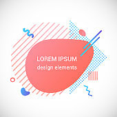 Modern liquid abstract element shape gradient memphis style design fluid vector colorful illustration banner simple shape template for presentation, flyer, brochure isolated on white background.
