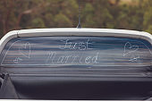 Just Married Sign On Back Of Ute At Australian Wedding