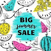 Big summer sale on brush stroke banner postcard lettering text with hand drawn watermelons and colored shapes vector illustration. Summer sale flyer or banner or leflet concept template.