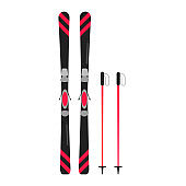 Ski and sticks flat style design vector illustration icons signs isolated on white background. Skiing equipment and winter sports symbols.