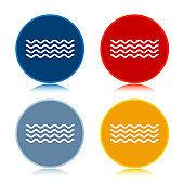 Sea waves icon trendy flat round buttons set illustration design