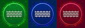 Sea waves icon elegant modern design abstract buttons set illustration