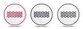 Sea waves icon crystal flat round button set illustration design