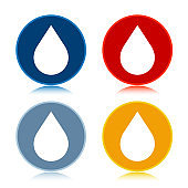 Water drop icon trendy flat round buttons set illustration design