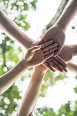 Close up team students teamwork stack hands together. Startup, Success concept.