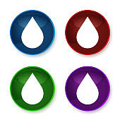 Water drop icon shiny round buttons set illustration