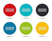 Sea waves icon flat round button set illustration design