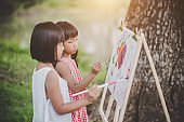 Two little girl painter art drawing in the park