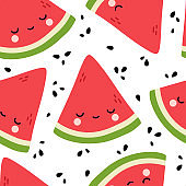 Watermelon Cute Face Seamless Pattern Background