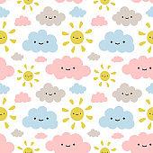 Cute Sun and Cloud Pattern