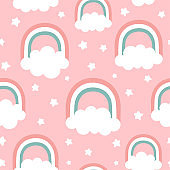 Cloud Rainbow and Star Cute Seamless Pattern