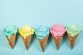 Pastel ice cream in waffle cones