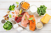 Selection of animal and plant protein sources on wood background