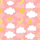 Cloud Cute Seamless Pattern Background with star moon and shiny dot