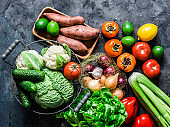 Fresh organic vegetables, fruits on a dark background, top view. Healthy diet food concept. Sweet potato, savoy cabbage, sweet peppers, celery, cucumbers, tomatoes, persimmon - delicious vegetarian food