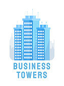 Business towers flat logo vector template. Construction industry, modern urban architecture poster layout. Corporate company headquarters, office building, skyscrapers illustration with typography