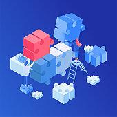 Teamwork, creative process isometric illustration
