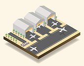 Airport runway, airfield isometric vector illustration. Modern air transportation business, aviation industry, commercial airline 3D design element. Passenger, cargo planes, hangars and ambulance cars