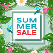 Summer discounts vector banner template. Exotic palm, monstera foliage with tropical birds botanical frame. Summertime sale, special price offer with trendy inscription, poster design layout