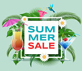 Summer cocktails sale vector banner template. Summertime refreshing beverages discount offer. Trendy inscription in square frame with palm, monstera leaves, exotic hummingbirds social media post
