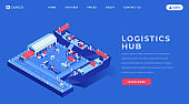 Logistics hub landing page vector template. Sea freight industry website homepage interface idea with isometric illustrations. Maritime shipping service web banner, webpage cartoon concept