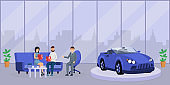 Car dealer consultation flat vector illustration. Happy young couple, customers and friendly salesman discussing purchase cartoon characters. Seller consultant offering clients auto loan contract