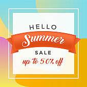 Summer discount flat vector banner template. Summertime sale offer in square frame on red ribbon. 50 percent lower price advertising, seasonal clearance promotion, retail deal poster