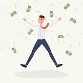 Delighted honorarium male payee vector character. Happy jumping young man, successful businessman having good deal flat illustration. Lucky and profit, cash prize, lottery jackpot concept