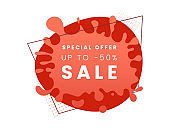 Special price offer vector banner template. 50 percent off discount, creative sale promo poster layout on red background. Trendy stylized paint splash backdrop for shop clearance advertising campaign