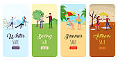 Seasonal sales flyers flat templates set