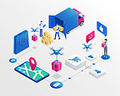 Online shopping system isometric vector illustration. Delivery service workers and happy customer cartoon characters. Drone delivering purchase, modern transportation business, e shopping concept