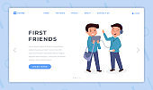 First friends landing page flat template. Boys wearing headphones, listening music, schoolkid with bag holding tablet cartoon characters. Classmates, schoolboys friendship website homepage
