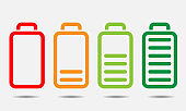 Battery icons set for your design. Charger phases. Line art design vector illustration.