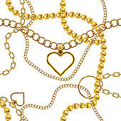 Cute gold chain texture seamless. Flat and solid color vector illustration.