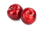 fresh red plum isolated on white background