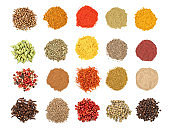 mix of spices isolated on a white background. Top view. Flat lay. Set or collection
