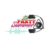 Happy Summer Party Logo with headphone and sound wave icon. Dj concert poster. Vector illustration.