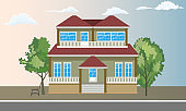Cool detailed two floors house and trees with front view. Flat and solid color style vector illustration.