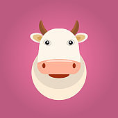 Cute and little cow head character for your logo design. Organic farm and milk concept. Vector illustration.