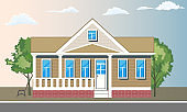 Cool detailed house and trees with front view. Flat and solid color style vector illustration.