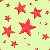Red Star shape seamless with hand drawn style. Solid and flat color vector illustration.
