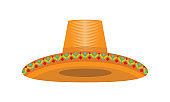 Mexican Cinco de Mayo hat with mexican texture for your design. Vector illustration.