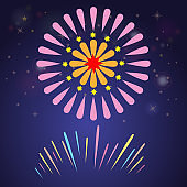 Colorful fireworks for celebration concept design. Firetracker for party and anniversary background. Flat color vector illustraton.